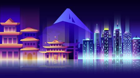 Japan Stadt Nacht Neon-Stil Architektur Gebäude Stadt Land Reisen