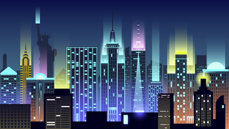 USA city night neon style architecture buildings town country travel Illustration