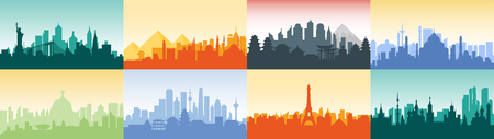 Brazil Russian France, Japan, India, Egypt China USA silhouette architecture buildings town city country travel. Illustration