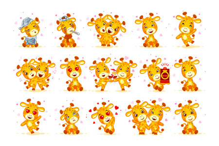 Set Vector Stock isolated Emoji character cartoon giraffe stickers emoticon