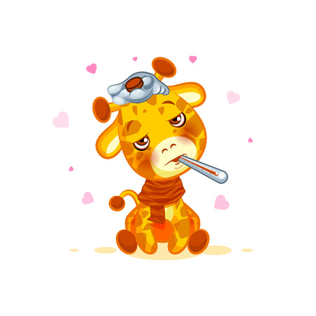 camelopard: Emoji character cartoon Giraffe sick with thermometer in mouth sticker emoticon