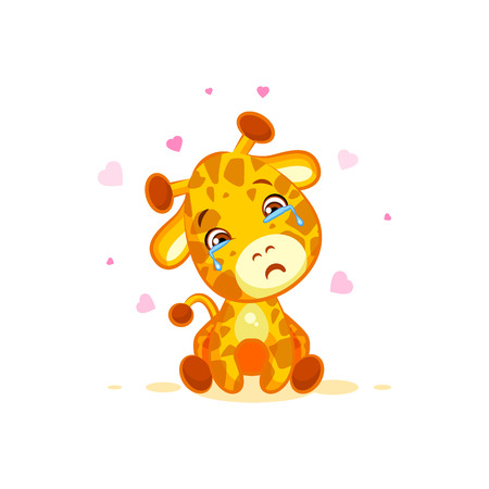 eyes looking down: Emoji crying tears character cartoon Giraffe miss you sad frustrated sticker emoticon