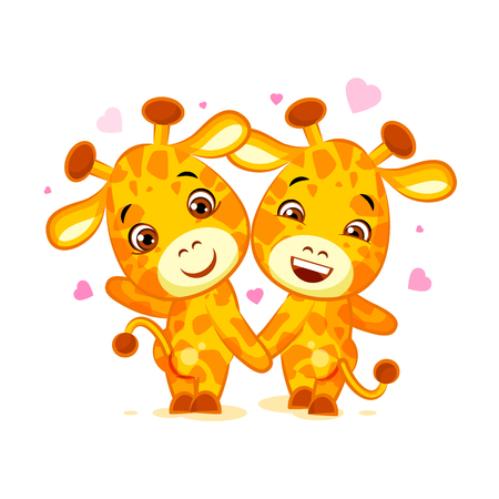 Emoji have date let s go out character cartoon friends Giraffe sticker emoticon Illustration