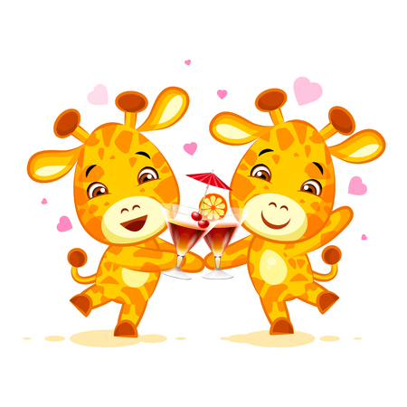Emoji let have drink party character cartoon friends Giraffe sticker emoticon Illustration