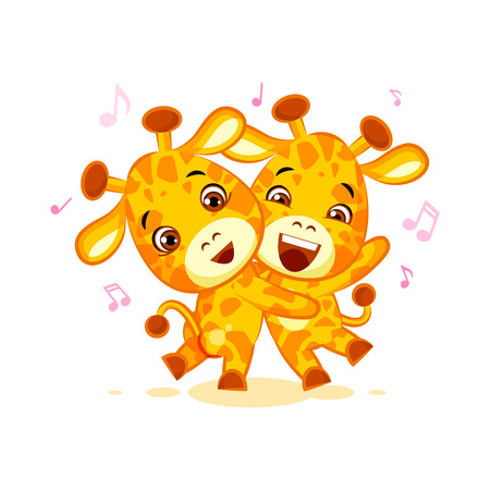 Emoji have date let dance music character cartoon friends Giraffe sticker emoticon