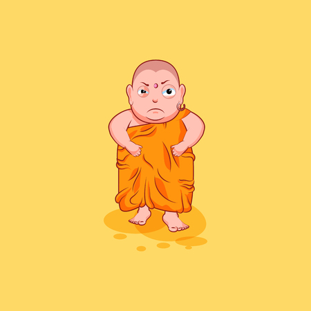 Sticker emoji emoticon emotion vector isolated illustration unhappy character cartoon angry Buddha