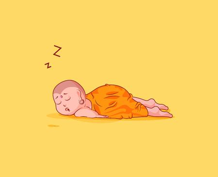 ステッカー絵文字顔文字感情ベクトル分離図不幸な文字漫画仏胃の上で眠る