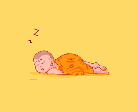 Sticker emoji emoticon emotion vector isolated illustration unhappy character cartoon Buddha sleeps on the stomach