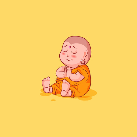Sticker emoji emoticon emotion vector isolated illustration unhappy character cartoon Buddha sit embarrassed