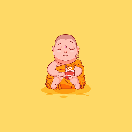 buddhist monk: Sticker emoji emoticon emotion vector isolated illustration unhappy character cartoon Buddha woke up with cup of coffee