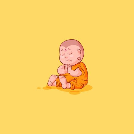 Sticker emoji emoticon emotion vector isolated illustration unhappy character cartoon sad sorrow Buddha Illustration