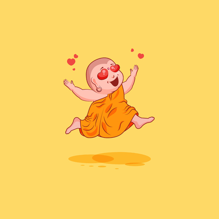 Sticker emoji emoticon emotion vector isolated illustration unhappy character cartoon Buddha in love Illustration
