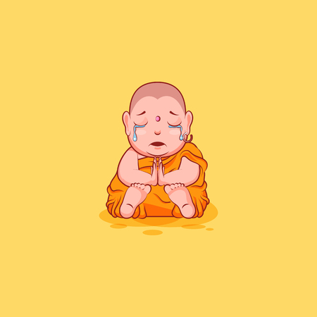 Sticker emoji emoticon emotion vector isolated illustration unhappy character cartoon sad Buddha crying tears