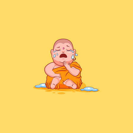 Sticker emoji emoticon emotion vector isolated illustration unhappy character cartoon Buddha crying