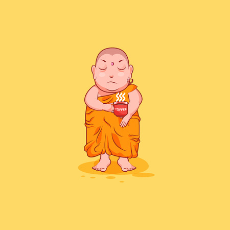 Sticker emoji emoticon emotion vector isolated illustration unhappy character cartoon Buddha nervous with cup of coffee Illustration
