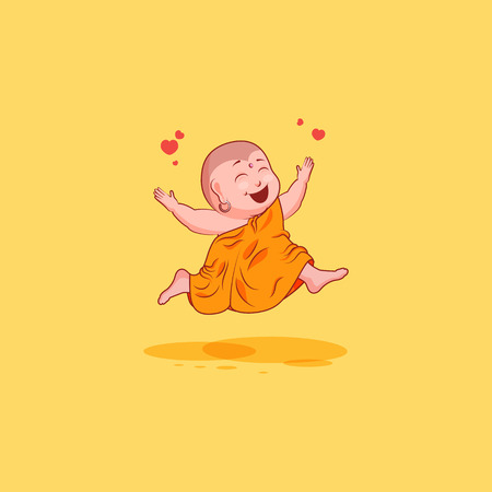 Sticker emoji emoticon emotion vector isolated illustration unhappy character cartoon Buddha jumping for joy