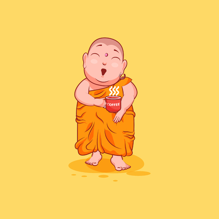 Sticker emoji emoticon emotion vector isolated illustration unhappy character cartoon surprised Buddha with cup of coffee