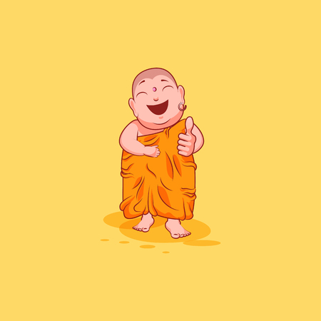 Sticker emoji emoticon emotion vector isolated illustration unhappy character cartoon Buddha approves with thumb up