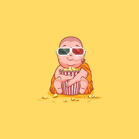 buddhist monk: Sticker emoji emoticon emotion vector isolated illustration unhappy character cartoon Buddha chewing popcorn watching movie