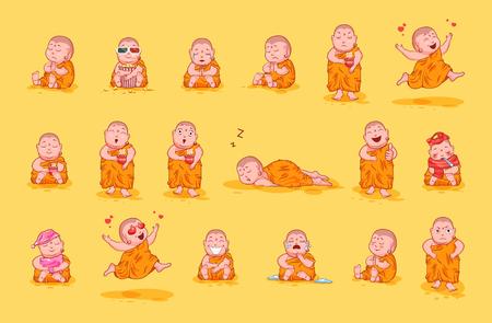 Set kit collectie sticker emoji emoticon emotie vector geïsoleerde illustratie gelukkig karakter zoet schattig klein Boeddha Boeddhistische monnik