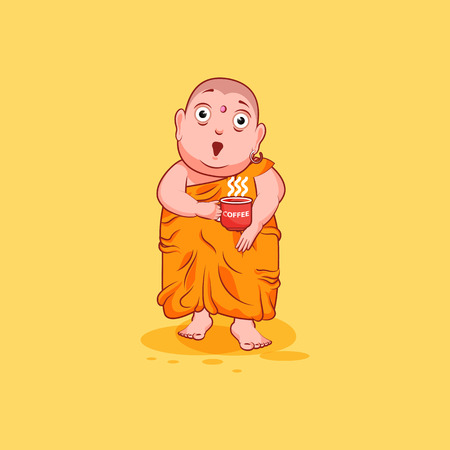 Sticker emoji emoticon emotion vector isolated illustration unhappy character cartoon Buddha surprised with big eyes Ilustração