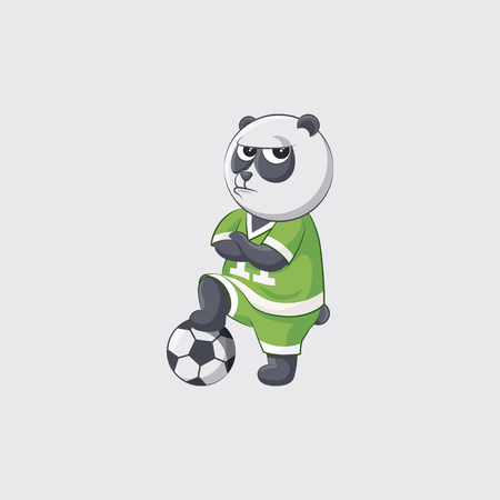 dissatisfaction: Stock vector illustration sticker emoji emoticon emotion isolated illustration character kicker panda football player goalkeeper forward defender angry crosses arms