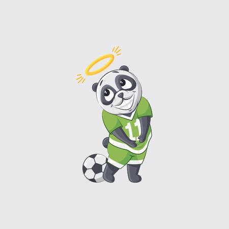 Stock vector illustration sticker emoji emoticon emotion isolated illustration character kicker panda football player goalkeeper forward defender angel nimbus overhead