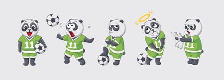 modesty: Set kit collection sticker emoji emoticon emotion vector isolated illustration happy character sweet cute little kicker panda football player goalkeeper forward defender