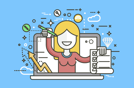 Vector illustration woman in laptop notebook offers fill in application form design element education, subscription email marketing newsletter online management line art