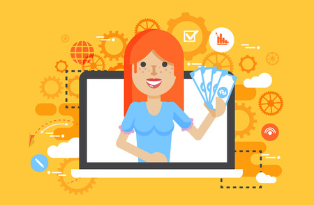 passive income: Vector illustration woman money in hand online marketing management flat style in flat style Stock Photo