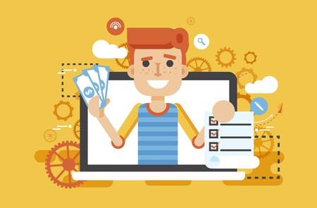 Vector illustratie man laptop notebook biedt invullen aanvraagformulier in vlakke stijl