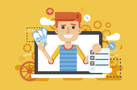 Vector illustration man laptop notebook offers fill in application form in flat style