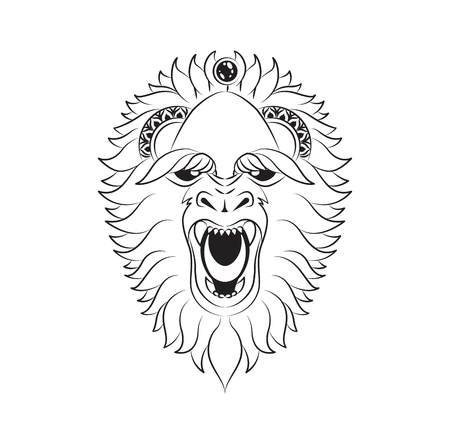 Vector illustration abstract isolated predatory unusual grin wild animal yeti decorated black linear doodle Illustration