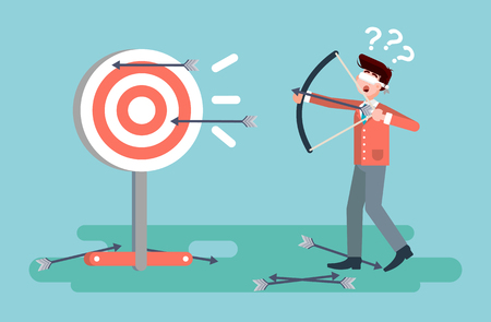 Stock vector illustration businessman hits target unsuccessful shot from bow regression wrong solution business failure marketing unachievable unlucky idea non-progress loss start-up in flat style.