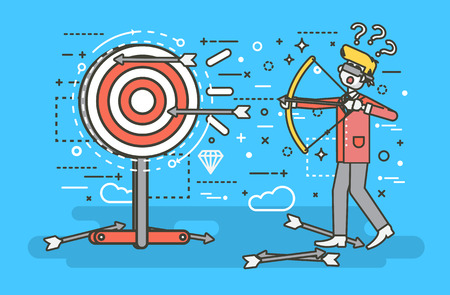 unachievable: Vector illustration businessman hits target unsuccessful shot from bow regression wrong solution business failure marketing unachievable unlucky idea non-progress loss start-up in line art style