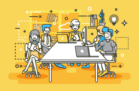 Vector illustration of business people having meeting Illustration
