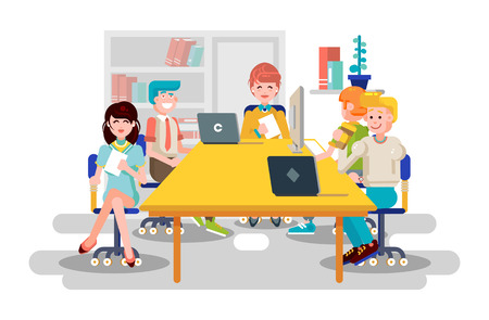 Illustration business people men women employees colleagues sit negotiating conference planning table teamwork brainstorm presentation leader boss meeting assembly collection flat style.