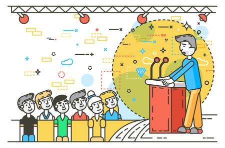 Illustration orator spokesman spokesperson speaker public appearance.