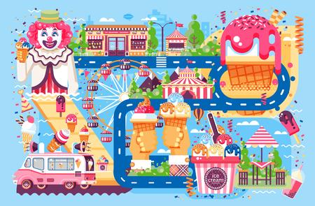 Entreprise d'illustration vectorielle vendant différentes sortes de crème glacée vente de nourriture avec machine, repas sur roues clown parc d'attractions bonbons vanille chocolat fruits remplissage café près de route dans le style plat Vecteurs