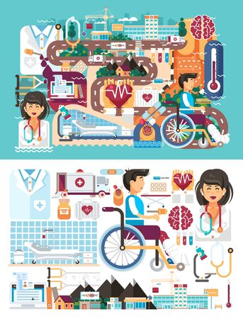 polyclinic: Vector big set design illustration medicine health care of patient medical insurance treatment illness and recovery doctor nurse ambulance on road near hospital pharmacy polyclinic in flat style