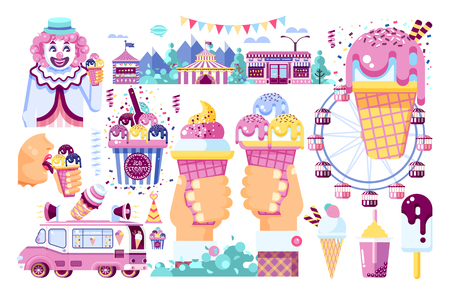 Vector isolated illustration business selling ice cream sale of food with machine, meal on wheels clown amusement park sweet vanilla chocolate fruit filling cafe road flat style white background