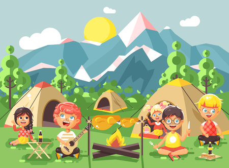 scouting: Stock vector illustration cartoon characters children boy sings playing guitar with girl scouts, camping on nature, hike tents and backpacks, adventure park outdoor background of mountains flat style Illustration