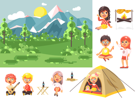 scouting: Stock vector illustration isolated cartoon characters children boy sings playing guitar, girl scouts siting in tent waving hand nature park outdoor bonfire, fried chicken, white background flat style