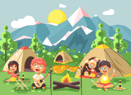 Stock vector illustration cartoon characters children boy sings playing guitar with girl scouts, camping on nature, hike tents and backpacks, adventure park outdoor background of mountains flat style Illustration