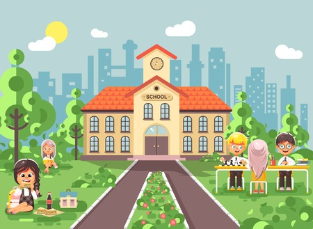 Vector illustration children characters schoolboy schoolgirl pupils apprentices classmates at schoolyard play chess, sit on grass dinner lunch, read book backdrop of school building flat style