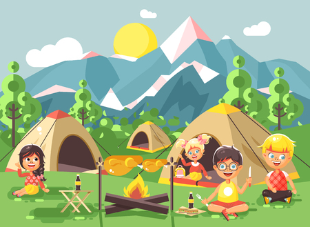 scouting: Vector illustration cartoon characters children boy sings playing guitar with girl scouts, camping on nature, hike tents and backpacks, adventure park outdoor background of mountains flat style