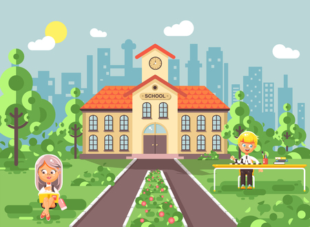 Vector illustration back to school character schoolgirl schoolboy pupil sitting on grass near trees bushes exterior schoolyard read book doing homework play chess gymnasium background flat style