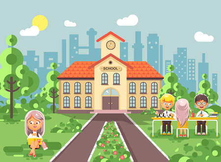 Vector illustration back to school character schoolgirl schoolboy pupil sitting on grass, exterior schoolyard, girl reads book doing homework, boys play chess gymnasium background in flat style