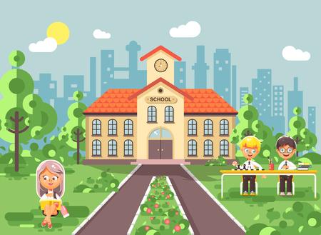 Illustrazione vettoriale torna a scuola personaggio scolaro scolaro scolaro seduto sull'erba, cortile esterno, ragazza legge libro facendo i compiti, i ragazzi giocano a scacchi palestra sfondo in stile piano