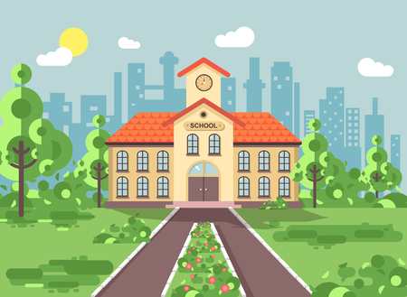 Vector illustration back to school architecture two-story building with porch, clock on tower, trees bushes exterior schoolyard behind structure background in flat style for video design element Illustration